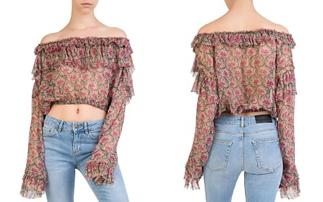 The Kooples Ruffled Off-the-Shoulder Floral Silk Top - Bloomingdale's_2