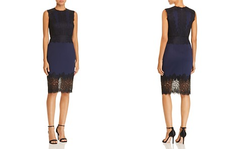 Tadashi Shoji Lace-Appliquéd Neoprene Dress - Bloomingdale's_2