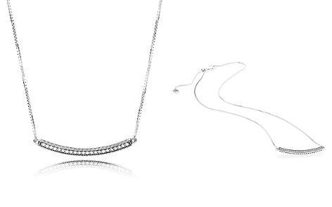 "PANDORA Sterling Silver & Cubic Zirconia Hearts of Pandora Bar Necklace, 19.7"" - Bloomingdale's_2"