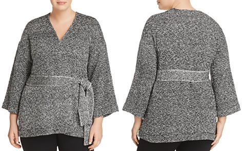 Eileen Fisher Plus Mixed Knit Wrap Jacket - Bloomingdale's_2