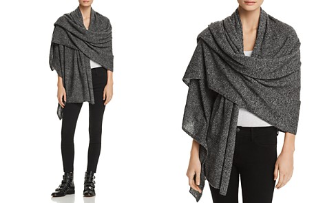 C by Bloomingdale's Marled Cashmere Travel Wrap - 100% Exclusive _2