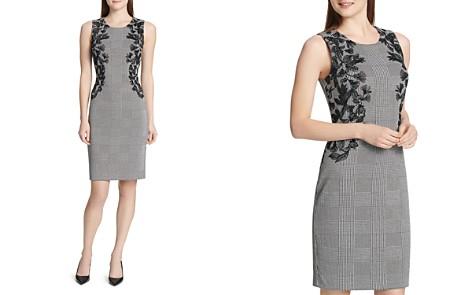 Calvin Klein Embroidered Glen Plaid Sheath Dress - Bloomingdale's_2