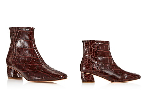 LoQ Women's Matea Almond Toe Croc-Embossed Leather Mid Heel Booties - Bloomingdale's_2