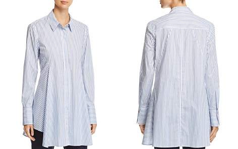 Donna Karan New York Pinstriped Button-Down Flare Top - Bloomingdale's_2