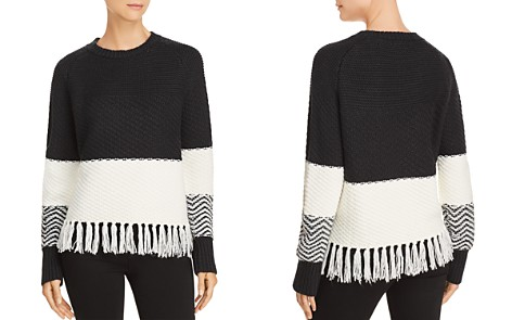 AQUA Fringed Color-Block Sweater - 100% Exclusive - Bloomingdale's_2