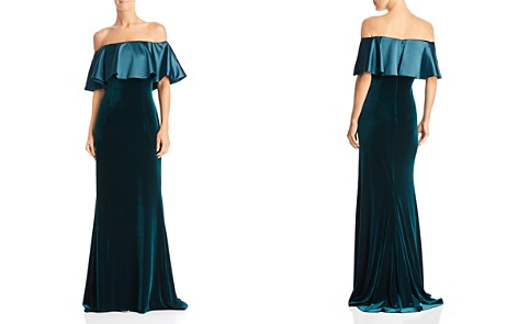 Adrianna Papell Off-the-Shoulder Mixed Media Gown - Bloomingdale's_2