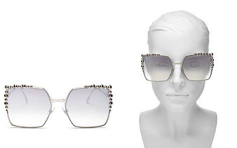 Fendi Women's Embellished Mirrored Square Sunglasses, 60mm - Bloomingdale's_2