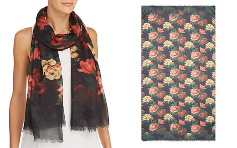 AQUA Floral Needlepoint-Print Scarf - 100% Exclusive - Bloomingdale's_2