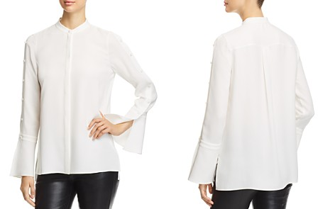 Lafayette 148 New York Nicolette Silk Button-Sleeve Blouse - Bloomingdale's_2