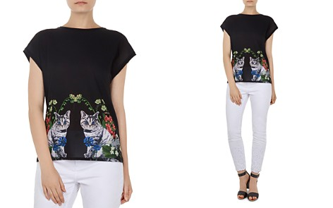 Ted Baker Bleue Florence Woven-Front Tee - Bloomingdale's_2