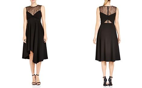 HALSTON HERITAGE Lace-Inset Twist Detail Midi Dress - Bloomingdale's_2