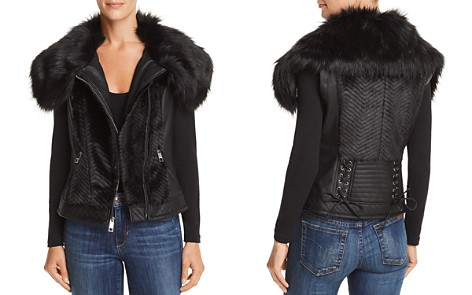 GUESS Posh Faux Fur & Faux Leather Vest - Bloomingdale's_2