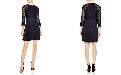 Sandro Battements Pleated Lace-Detail Dress - Bloomingdale's_2