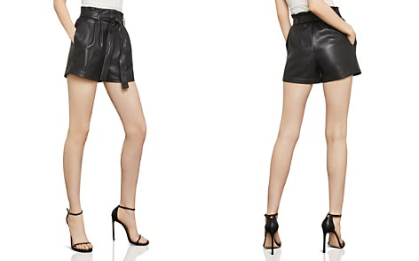 BCBGMAXAZRIA Faux Leather Paperbag-Waist Shorts - Bloomingdale's_2