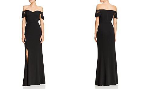 Aidan Mattox Off-the-Shoulder Tasseled Gown - Bloomingdale's_2