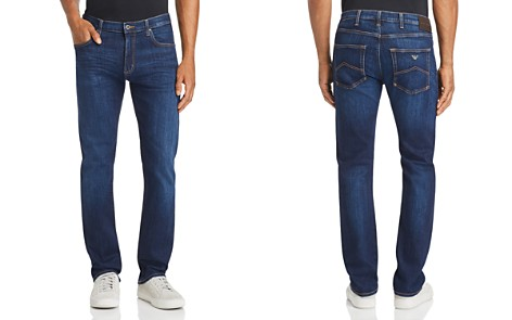 Emporio Armani Blue Five-Pocket Straight-Leg Jeans in Medium Wash - Bloomingdale's_2