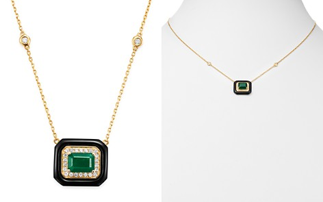 Bloomingdale's Emerald, Black Onyx & Diamond Angular Pendant Necklace in 14K Yellow Gold - 100% Exclusive_2