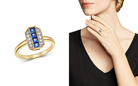 Bloomingdale's Sapphire & Diamond Milgrain Ring in 14K Yellow Gold - 100% Exclusive_2