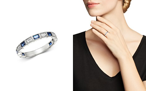 Bloomingdale's Blue Sapphire & Diamond Milgrain Band in 14K White Gold - 100% Exclusive_2