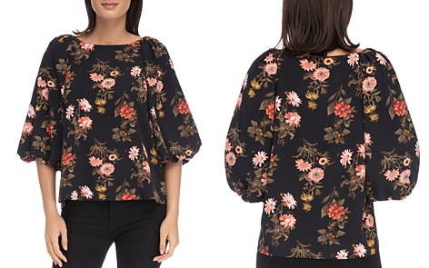 B Collection by Bobeau Larisa Floral Balloon Sleeve Blouse - Bloomingdale's_2