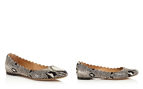 Chloé Women's Lauren Snakeskin-Embossed Leather Ballerina Flats - Bloomingdale's_2
