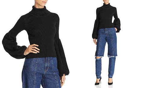 Ksenia Schnaider Poet-Sleeve Turtleneck Sweater - Bloomingdale's_2