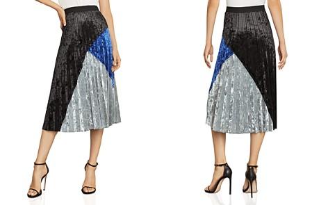 BCBGMAXAZRIA Pleated Color-Blocked Velvet Skirt - Bloomingdale's_2