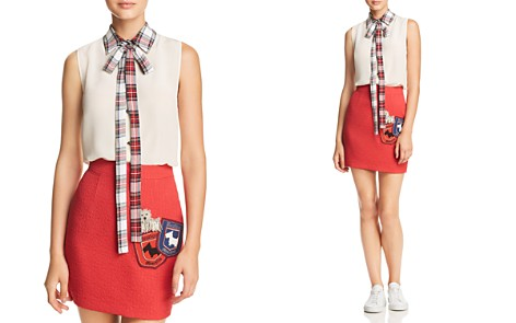 Boutique Moschino Plaid Collar & Tie-Neck Top - Bloomingdale's_2