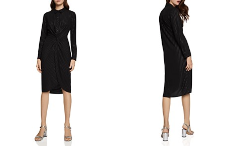 BCBGeneration Metallic Pinstriped Twist-Front Shirt Dress - Bloomingdale's_2