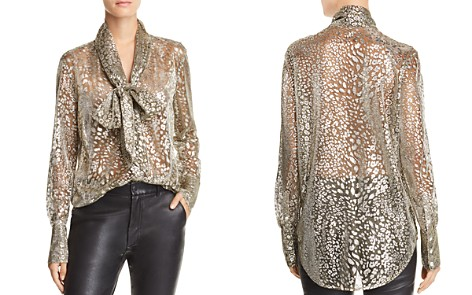 Equipment Luis Metallic Tie-Neck Shirt - Bloomingdale's_2