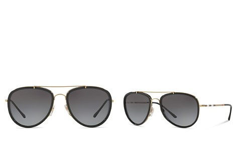 Burberry Mirrored Check Aviator Sunglasses, 58mm - Bloomingdale's_2