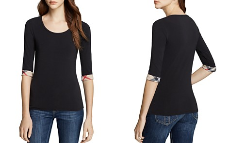Burberry Scoop Neck Three Quarter Sleeve Tee with Check Cuffs - Bloomingdale's_2