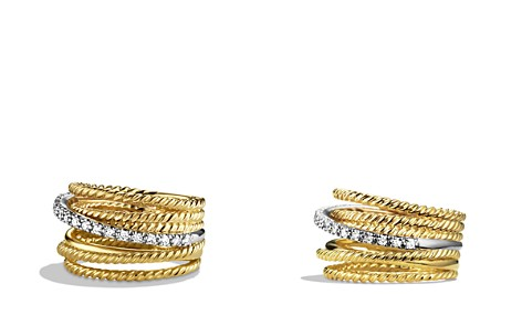 David Yurman Crossover Wide Ring with Diamonds in Gold - Bloomingdale's_2