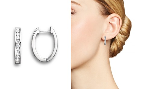Diamond Channel Set Hoop Earrings in 14K White Gold, .45 ct. t.w. - Bloomingdale's_2
