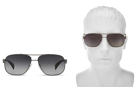 Prada Men's Polarized Pilot Aviator Sunglasses, 52mm - Bloomingdale's_2