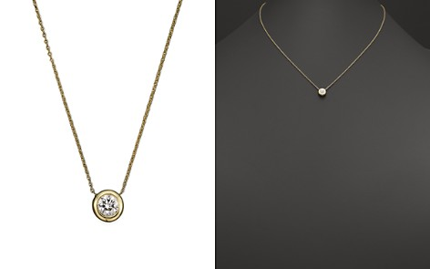 "Roberto Coin 18K Yellow Gold Diamond Bezel Necklace, 16"" - Bloomingdale's_2"