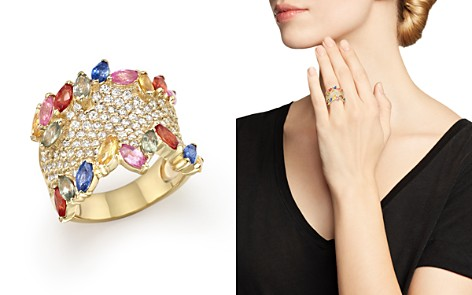 Multicolor Sapphire and Diamond Statement Ring in 14K Yellow Gold - 100% Exclusive - Bloomingdale's_2