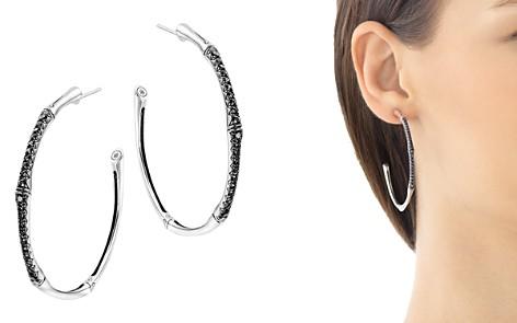 John Hardy Bamboo Silver Lava Large Hoop Earrings with Black Sapphire - Bloomingdale's_2