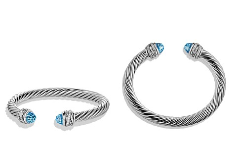 David Yurman Crossover Bracelet with Diamonds and Blue Topaz in Silver - Bloomingdale's_2