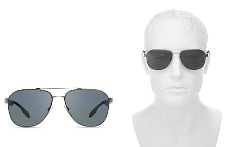Prada Polarized Punched Aviator Sunglasses, 60mm - Bloomingdale's_2