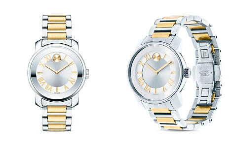 Movado BOLD Two-Tone Mirror Finish Bezel Watch, 32mm - Bloomingdale's_2
