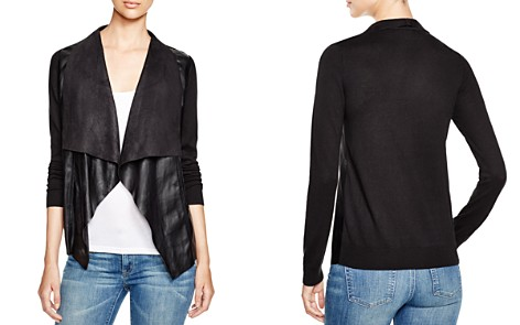 MICHAEL Michael Kors Draped Faux Leather Cardigan - Bloomingdale's_2