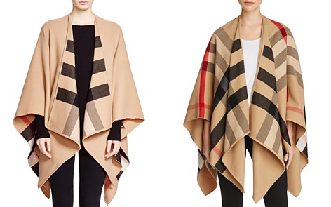 Burberry Charlotte Reversible Solid to Check Wool Cape - Bloomingdale's_2