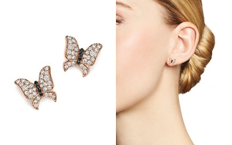 White and Black Diamond Butterfly Stud Earrings in 14K Rose Gold - Bloomingdale's_2