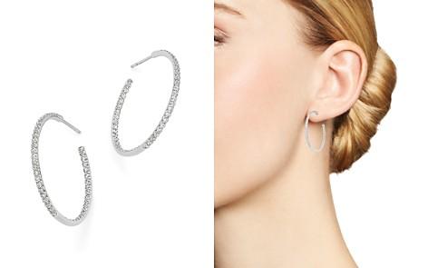 Roberto Coin 18K White Gold Large Micro Pavé Diamond Hoop Earrings, 0.98 ct. t.w. - Bloomingdale's_2