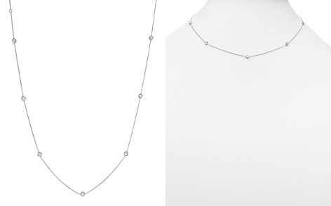 "Roberto Coin 18K White Gold Bezel-Set Diamond Station Necklace, 18"" - Bloomingdale's_2"