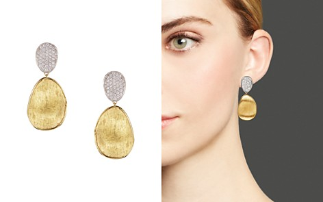 Marco Bicego Diamond Lunaria Two Drop Small Earrings in 18K Gold - Bloomingdale's_2
