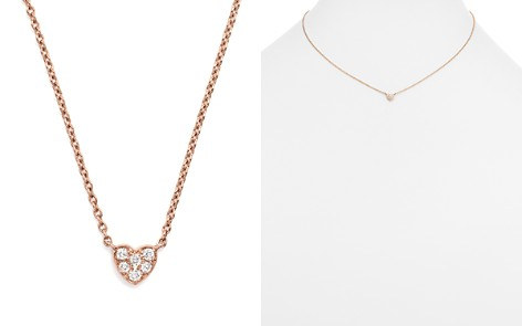 Mini Diamond Heart Pendant Necklace in 14K Rose Gold, .07 ct. t.w. - Bloomingdale's_2