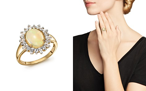 Opal Oval Statement Ring with Diamond Halo in 14K Yellow Gold - 100% Exclusive - Bloomingdale's_2
