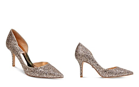 Badgley Mischka Daisy Glitter Half d'Orsay Pointed Toe Pumps - Bloomingdale's_2